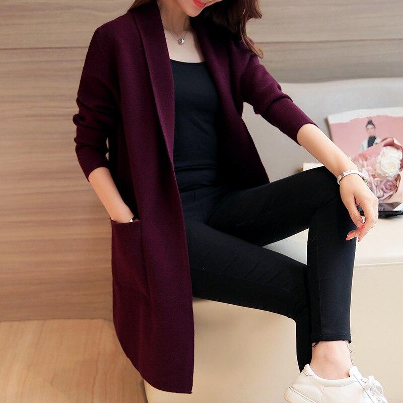 2019 Autumn Winter Wild Casual Loose Long Knitwear Long Women Cardigan Sweater Coat Elegant Cardigan Feminino Tricot Jumper Tops