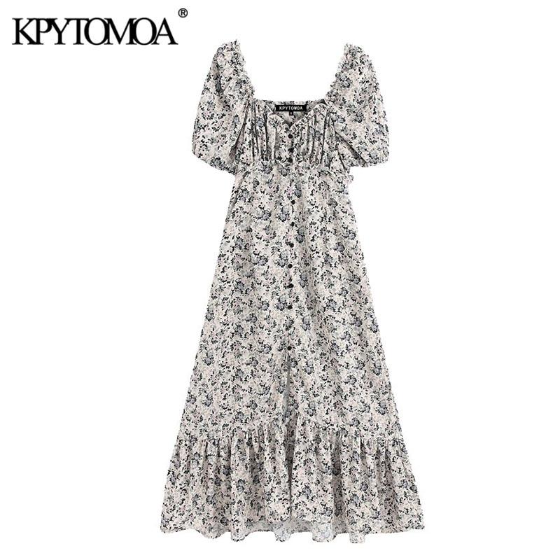 KPYTOMOA Women 2020 Chic Fashion Floral Print Ruffled Midi Dress Vintage V Neck Puff Sleeve Buttons Slit Female Dresses Vestidos