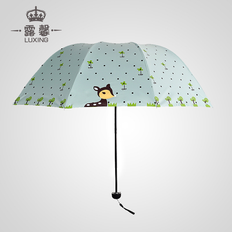 Creative Cartoon Deer Folding Umbrella Vinyl UV-Protection Parasol Three Fold Umbrella