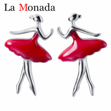 Cute Red Ballet Dancer Stud Earrings S925 Sterling Silver Women's Fashion Gift For School Girls Daughter's Gift