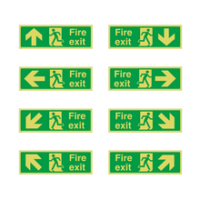 8pcs Photoluminescent Fire Exit Sign 36x14cm Plastic All Direction Arrows ND998