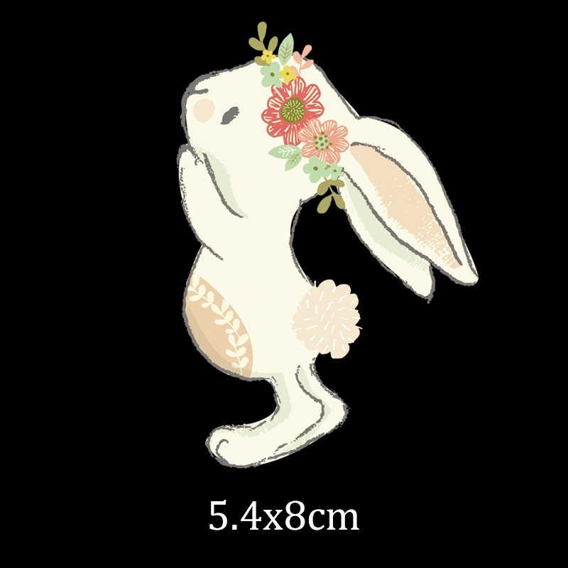 Sevimli tavşan Pvc yama onunla başa demir giyim için transferler üzerinde ısı transferi yamaları giysileri kız t-shirt 3D çıkartmalar