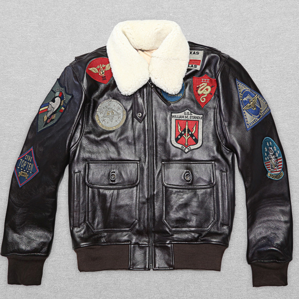 2020 New Men's Cowskin Leather Jacket Fat Loose Big Yards S-XXL Wool Collar Men Military A2 Pilot Jacket Winter Coats
