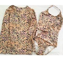 Swimwear Top Separate Bathing Bench Swimming Suits Swimsuits Bathe Long Sleeves Shot Sleeves Leopard Print cheap CEECGDEC Polyester Girls One Pieces Fits true to size take your normal size