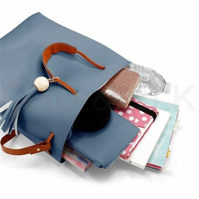 Women's Fashion PU Leather Small Handbags Solid Color Messenger Satchel Bags Cross Body Handbag 2 Pcs Shoulder Bag Hot Sale