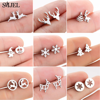 SMJEL Cartoon Animal Deer Stud Earrings Small Snowflake Earing for Girls Kid Stainless Steel Christmas Jewelry Women pendientes - discount item  40% OFF Fashion Jewelry