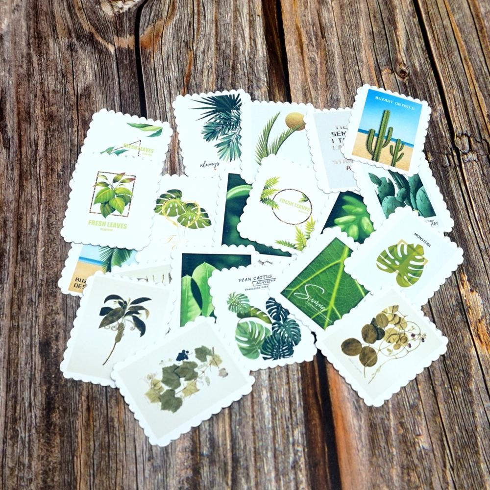 22PCS Retro Green Plants Stickers DIY Decorative Cactus Scrapbooking Sticker Label Diary Stationery Album Waterproof Sticker Toy