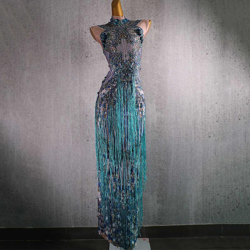 Parlak mavi saçaklı elbise şarkıcı performans Tassels elbiseleri parti kutlamak Glisten Rhinestones kostüm sahne gösterisi giyim DT832