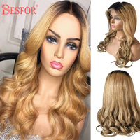 BESFOR Real Brazilian Virgin Human Hair 13x6 Lace Front Wigs 150% Density Ombre Color 1B27 Natural Wave Frontal Lace Hair Wig