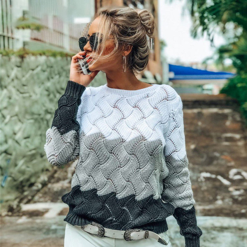 Winter Sweater Women 2019 Autumn Long Sleeve Casual Patchwork  Stripe Knitted Pullover Ladies Jumpers Sweaters Tops Pull Femme