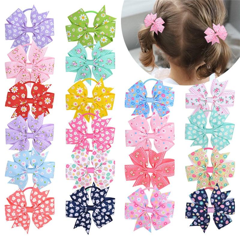 print-flower-grosgrain-ribbon-elastic-hair-bands-scrunchies-for-girls-kids-baby-rubber-scrunchy-ponytail-holder-hair-accessories