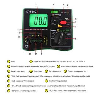 Image 2 - DUOYI DY5500 4 in1 Digitale Fluke Multifunzione Tester di Resistenza Multimetro di Isolamento Terra Voltmetro Misurazione Indicatore di Fase
