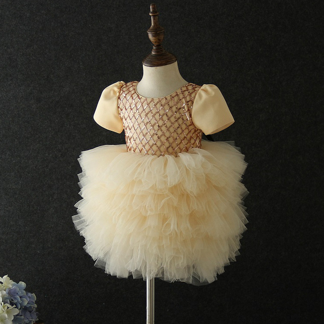Yeni stil bebek yıldönümü doğum günü partisi ziyafet işlemeli elbise çiçek kız prenses ilk dans performans elbise