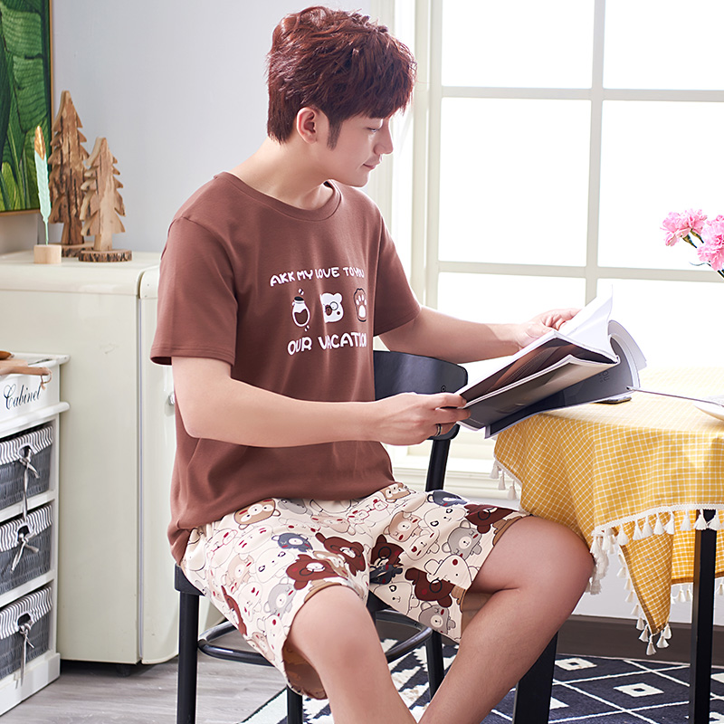New Summer Pajamas Men's Cotton Short Sleeve Cartoon Fashion Homewear Leisure Suit