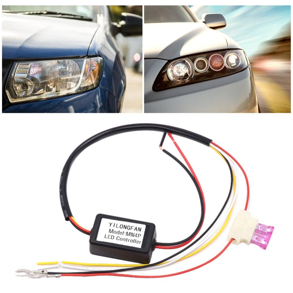 1 шт. Черный Авто Светодиодный дневной светильник реле DRL модуль контроллера Автоматическое включение/OFF сенсорный диммер 13,8 туман светильн...