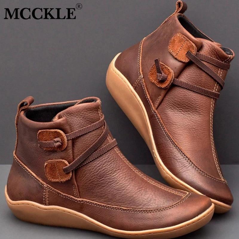 Botas De Cuero Para Mujer Tiras Vintage Zapatos Planos Elegantes Otoño Invierno