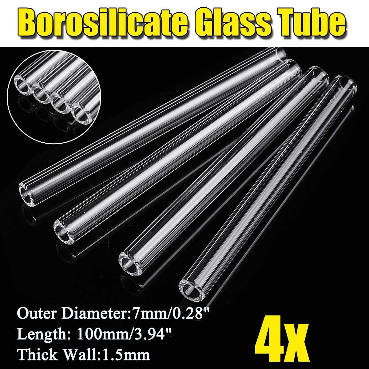 KICUTE Glass Blowing Tube 4Pcs 100mm OD 7mm 1.5mm Thick Wall Borosilicate Lab Tubing School Factory Laboratory