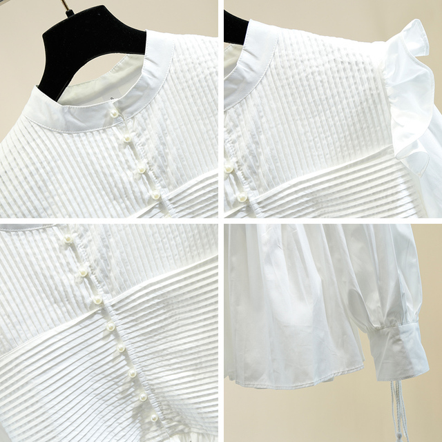 Trendy Blouse Black Office Lady Lantern Sleeve Lace Up Ruffles Patched Stand Collar Women White Shirt 2