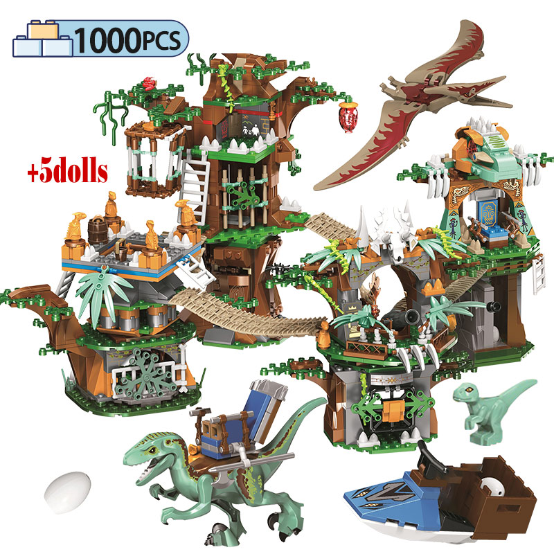 <font><b>1000pcs</b></font> City For Creative Dinosaur Tree House Building Blocks Jurassic World Park Figures Boat Bricks Toys For Children image