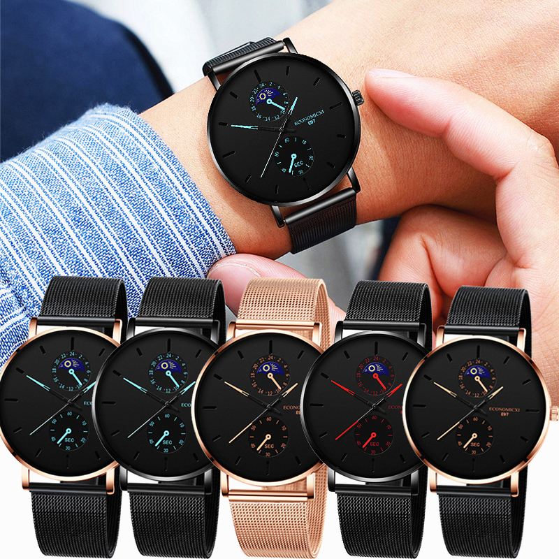 New Men's Watch Luxury Quartz Alloy Mesh  Multicolor Pointer Mysterious Black Male Business Simple Clock Relogio Masculino