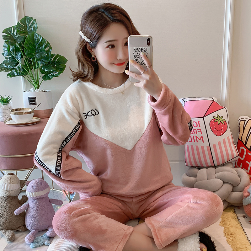 Betyline 2019 New Winter Pajamas For Women Sleepwear Warm Flannel Long Sleeves Pajamas Cute Animal Homewear Thick Homewear 131