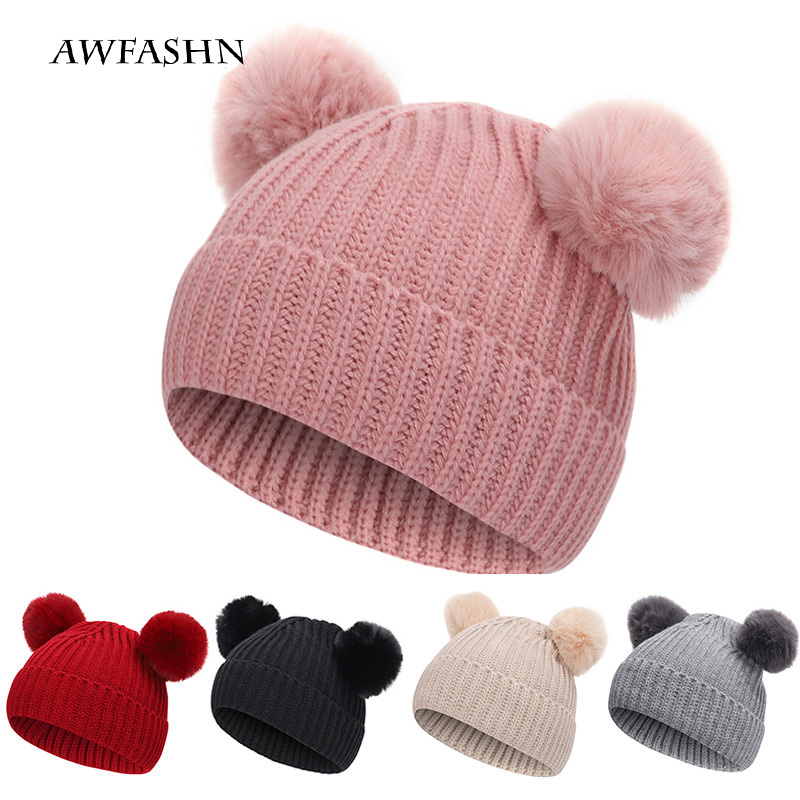 2019 New Baby Two-piece Winter Hat Scarf Baby Hat Cotton Cap Pom Pom Knit Warm Hat Child Furry Ball Cap Suit Hat