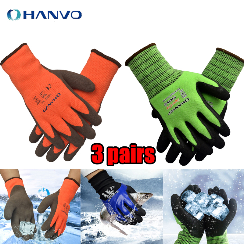 3 Pair Thicken Working Gloves Plus Velvet Warm Winter Wear Non-slip Acid Alkali Comfortable Hardware Repair Protective Gloves