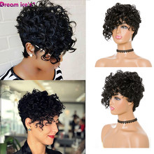 Short Kinky Curly Wig Afro American Wigs For Black Women Synthetic Heat Resistant Wigs With Bangs Cosplay Daily Use Dream Ice