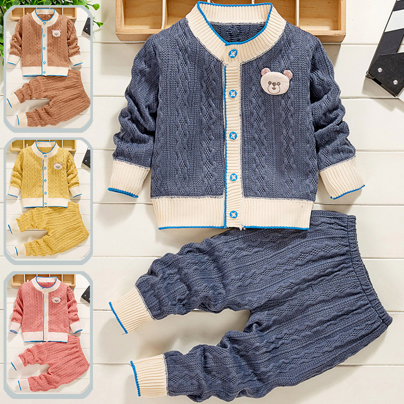 Baby Clothes Knit Sweater Autumn Winter Cable School Uniform Baby Sets  Casual Classic Single Breasted Boy Girl Outfits 2