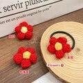 Отправим вам заколку-пряжку, кольцо для волос, маленькая брошь в виде красного цветка, шерстяная заколка, осенне-зимняя маленькая Цветочная ...
