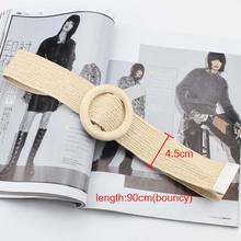 1PC girls Fashion Unique Wood Button Belt For Women Elastic Straw Decoration for Dress Casual Female Accessories
