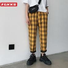 FGKKS 2021 Brand Streetwear Plaid Pants Male Casual Joggers Mens Straight Trousers Plus Size Hip Hop Harem Pants Men
