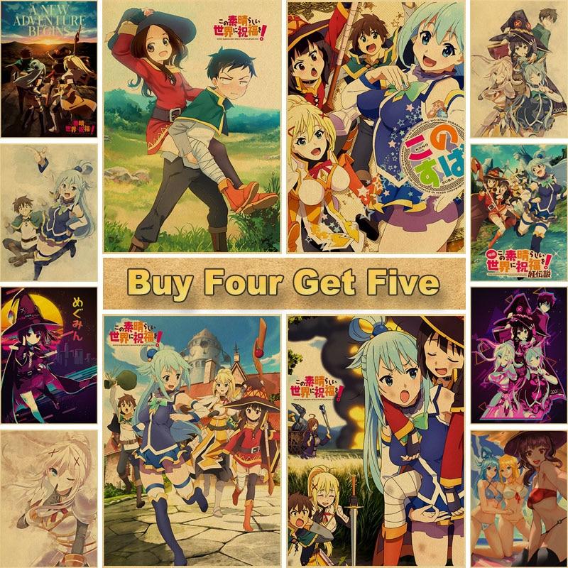 Home Decor Vintage Anime Poster KonoSuba Megumin Kraft Paper Posters and Prints Bedroom Bar Cafe Retro Wall Art Poster