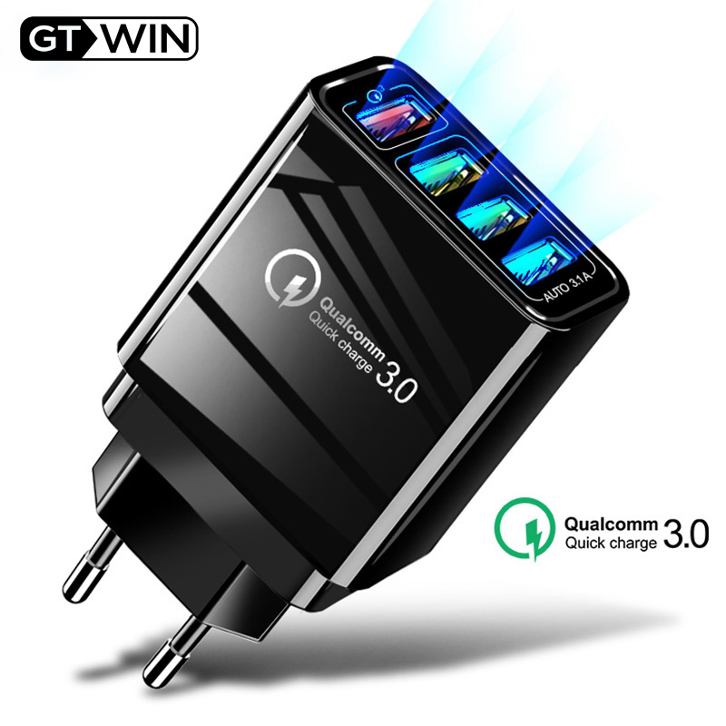 Quick-Charger Adapte Tablet Us-Eu-Uk-Plug Huawei P20 Fast iPhone 7 Qc-3.0 4-Port USB