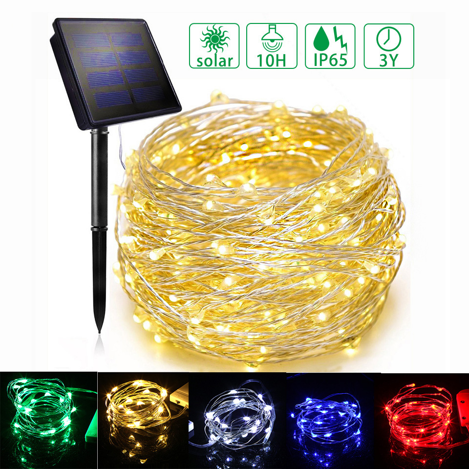 1M/2M/3M/12M/22M Led Solar String Light Outdoor Wire Lamp Solar Fairy Lights Christmas Garland String Lamps For Wedding Garden