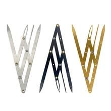 Triângulo de aço inoxidável sobrancelha medição régua permanente maquiagem estêncil relação dourada caliper maquiagem ferramentas