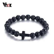 Vnox Volcanic Energy Lava Stone Black Red Cross Charm Bracelets for Women Men Yoga Beads Couple Jewelry Stretch Pulseira