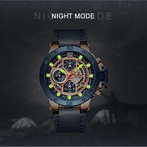 Image 2 - NAVIFORCE Uhren Neue Top Marke Luxus Military Quarzuhr Für Männer Chronograph Leder Wasserdichte Uhr Männlich relogio masculino