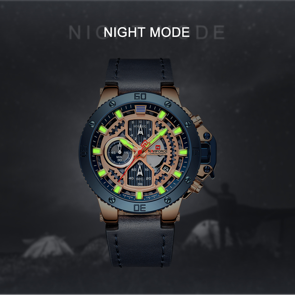 NAVIFORCE Watches New Top Brand Luxury Military Quartz Watch For Men Chronograph Leather Waterproof Clock Male relogio masculino in Quartz Watches from Watches