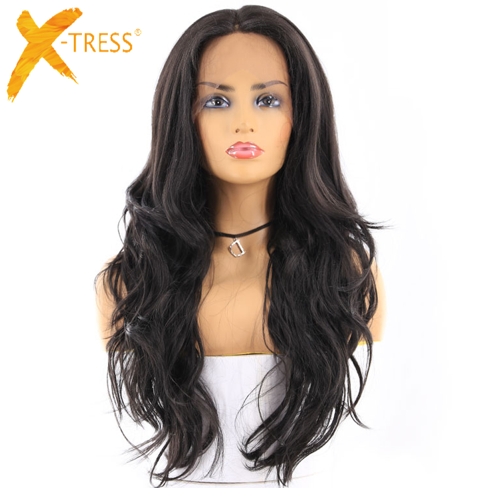 X-TRESS Synthetic-Wigs Lace-Wig Baby-Hair Hair-Long Wavy Black-Color Natural with High-Temperature-Fiber