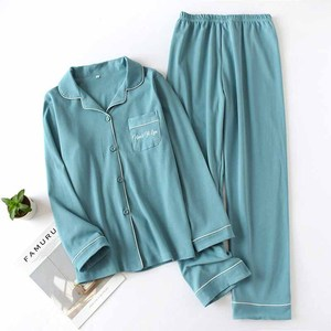 Image 3 - Lovers Pajamas Set Solid Color Turn down Collar Cardigan+Pants For Men And Women Couples Homewear Sleepwear Loose Casual Wear
