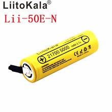 Liitokala bateria li-ni Lii-50E 21700 5000 mah, 3.7 v 40a para alta descarga mod/kit 3.7 v 15a potência + diy nicke