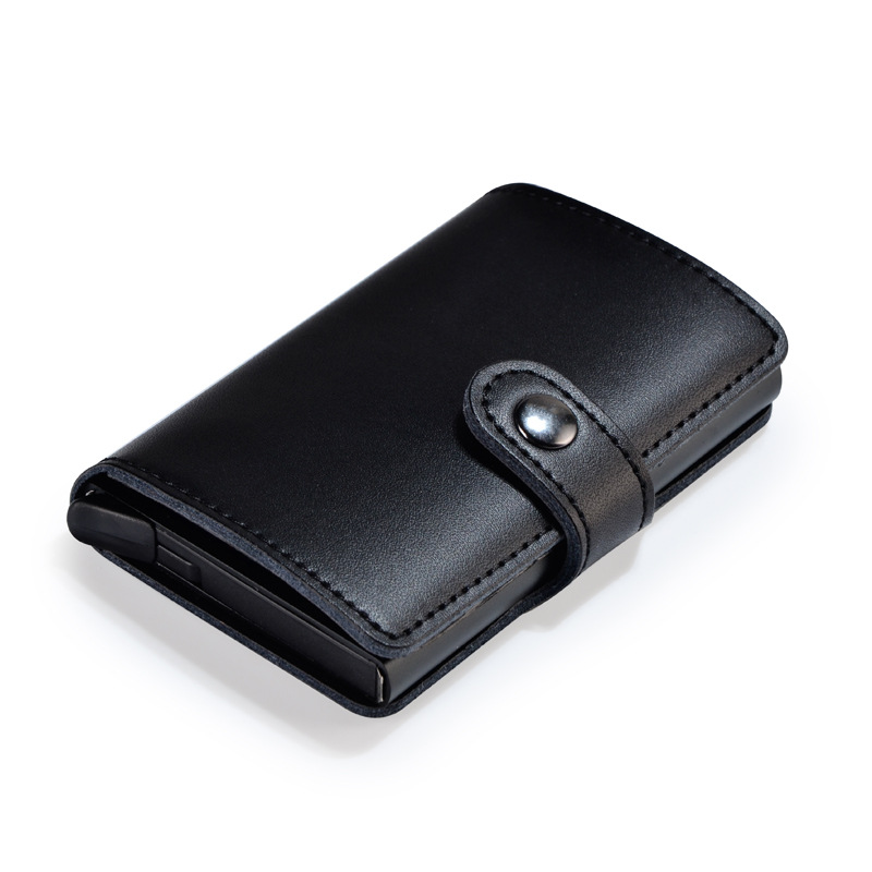 Leather with aluminum alloy card case holder metal retro leather wallet bentoy  business