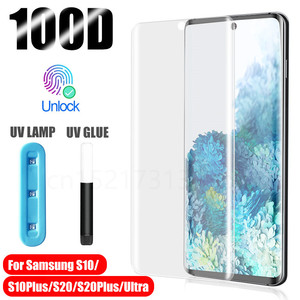 UV Tempered Glass For Samsung Galaxy S10 S20 S8 S9 Plus Ultra Full Liquid Screen Protector For Samsung Note 10 9 plus Glass(China)