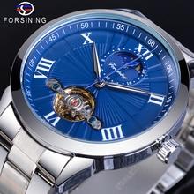 Forsining Blue Mechanical Wristwatch Male Tourbillon Moon Phase Fashion Analog Business Mens Stainless Steel Watches Erkek Saat