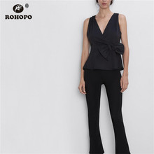 ROHOPO Sleeveless Stain Wrap Bow Waist Black Blouse Ruffled V Collar Ladies Solid  Top Chic Shirt #2417
