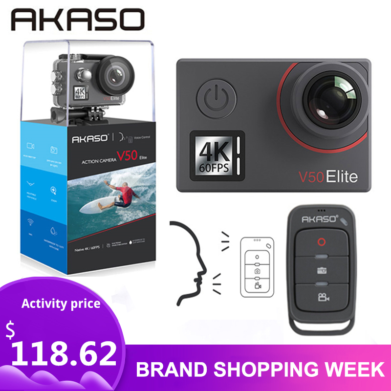 AKASO Waterproof Camera Helmet Elite V50 4k/60fps Wifi with Voice-Control Touch-Screen