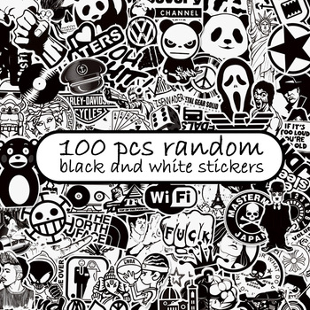 100pcs black and white random stickers graffiti funny sticker for laptop suitcase skateboard moto bicycle car kid s toy stickers 100 PCS Black and White Random Sticker Funny Graffiti Rock Cartoon Stickers DIY Car Skateboard Guitar Helmet Bike Laptop Fridge