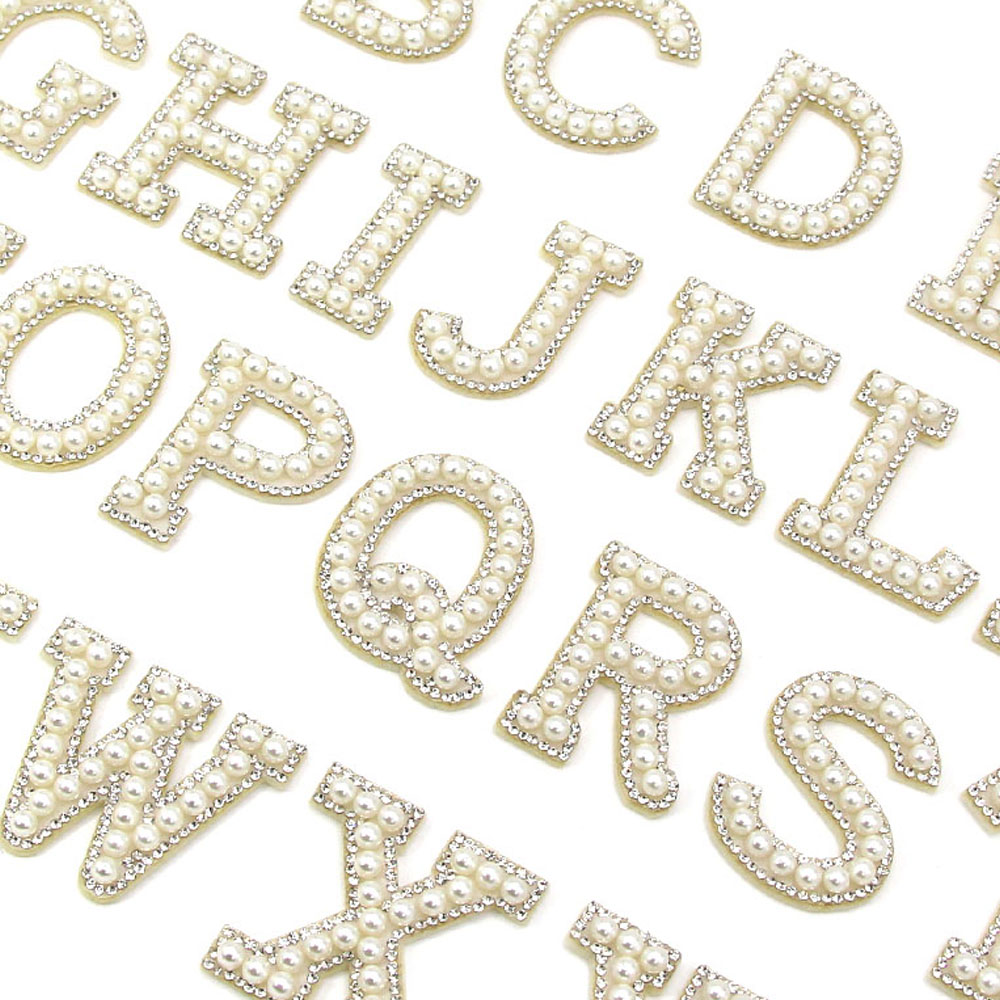 26 Английских Букв, перламутровые стразы, нашивки для одежды, A-Z, алфавит, жемчужные стразы, аппликация, Пришивные/приклеенные патчи, название «сделай сам»