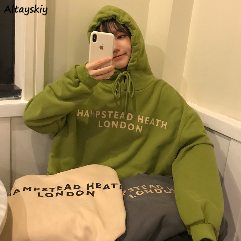 With Hat Hoodies Women Drawstrings Letters Womens Students Ulzzang BF Simple Daily Hooded Loose Outwear Delicate Trendy Newest